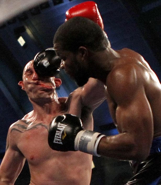 Lavarn Harvell connects to the head of Tony Pietrantonio for a knockout during their third round of light heavyweight boxing fight in Atlantic City